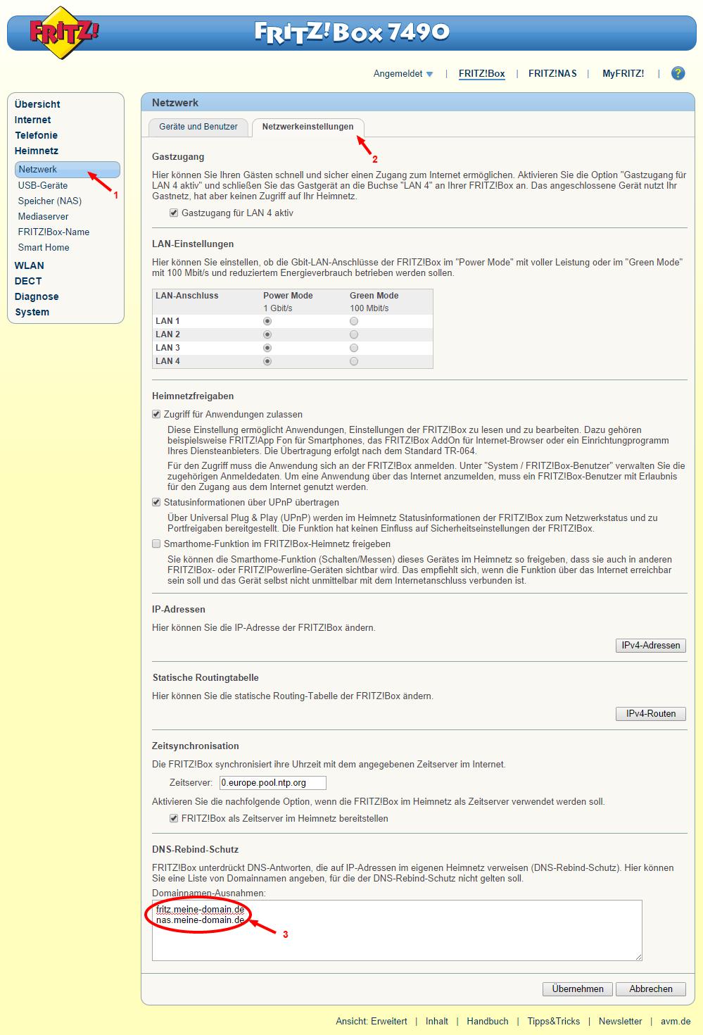 So trägt man seine eigenen Subdomains ein, damit die DNS-Auflösung der privaten IP funktioniert (Scrrenshot: FRITZ!Box 7490 Benutzeroberfläche)