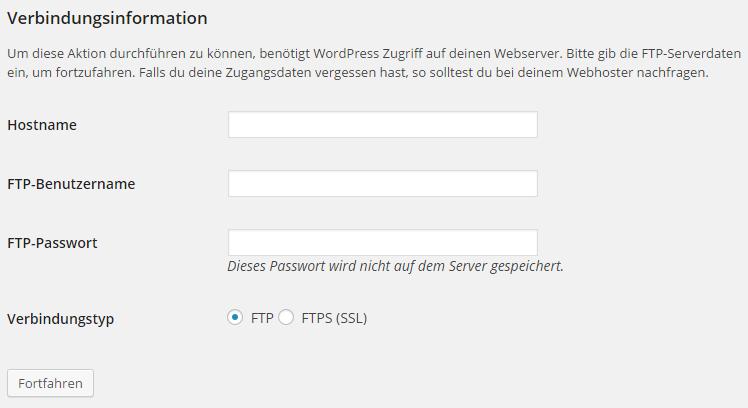 WordPress FTP-Serverdaten Aufforderung