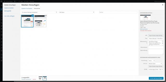 Galerie Beispiel - WordPress Admin Medien hinzufügen
