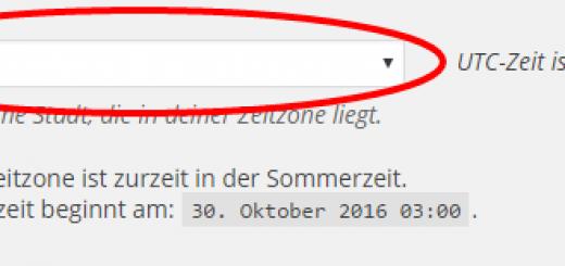 WordPress die automatische Umstellung von Sommer- und Winterzeit beibringen (Screenshot: WordPress Admin-Panel)