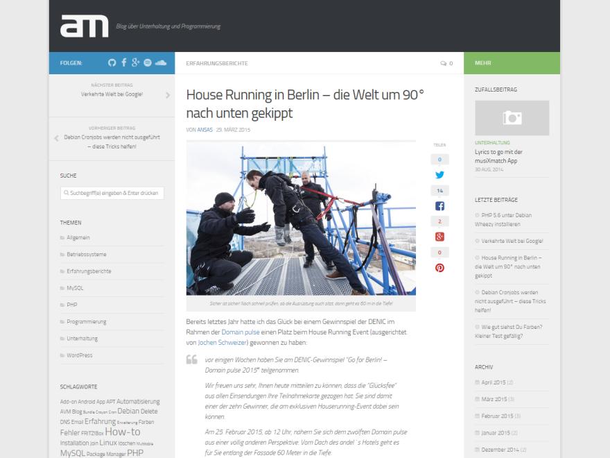 (Screenshot: Deutsche Übersetzung des Hueman Themes)